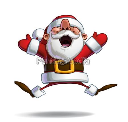 happy santa jumping in ecstasy