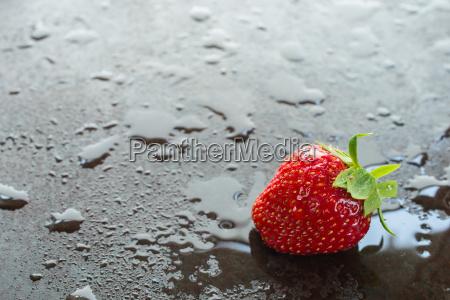 rote erdbeere mit wasser und textfreiraum