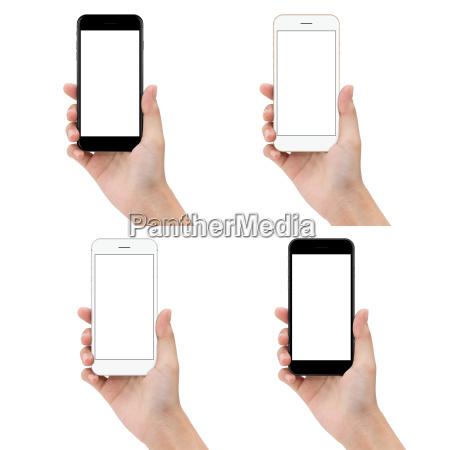 close up telefon hand halten isoliert