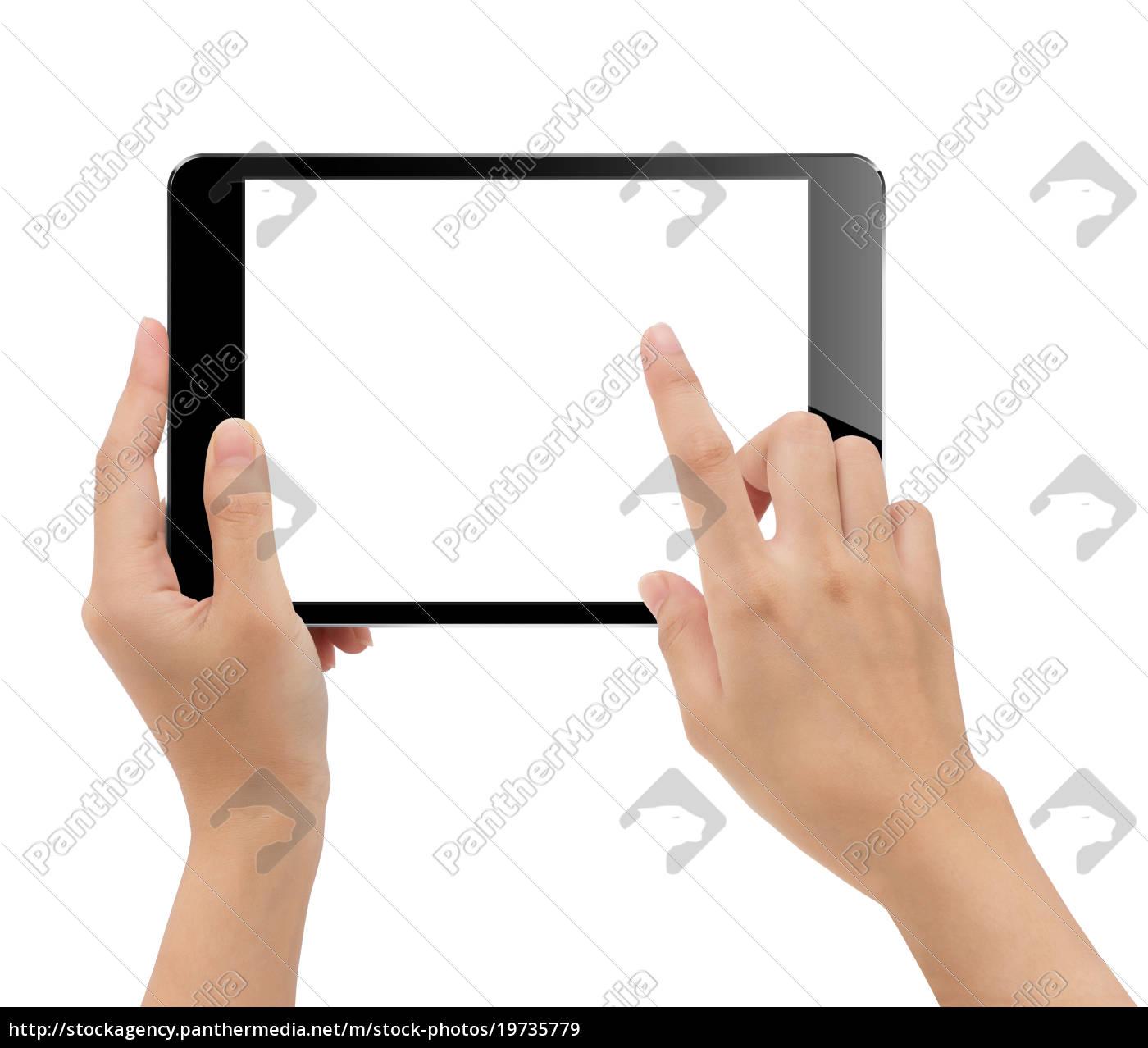 close-up, hand, hält, tablette, weißen, hintergrund - 19735779