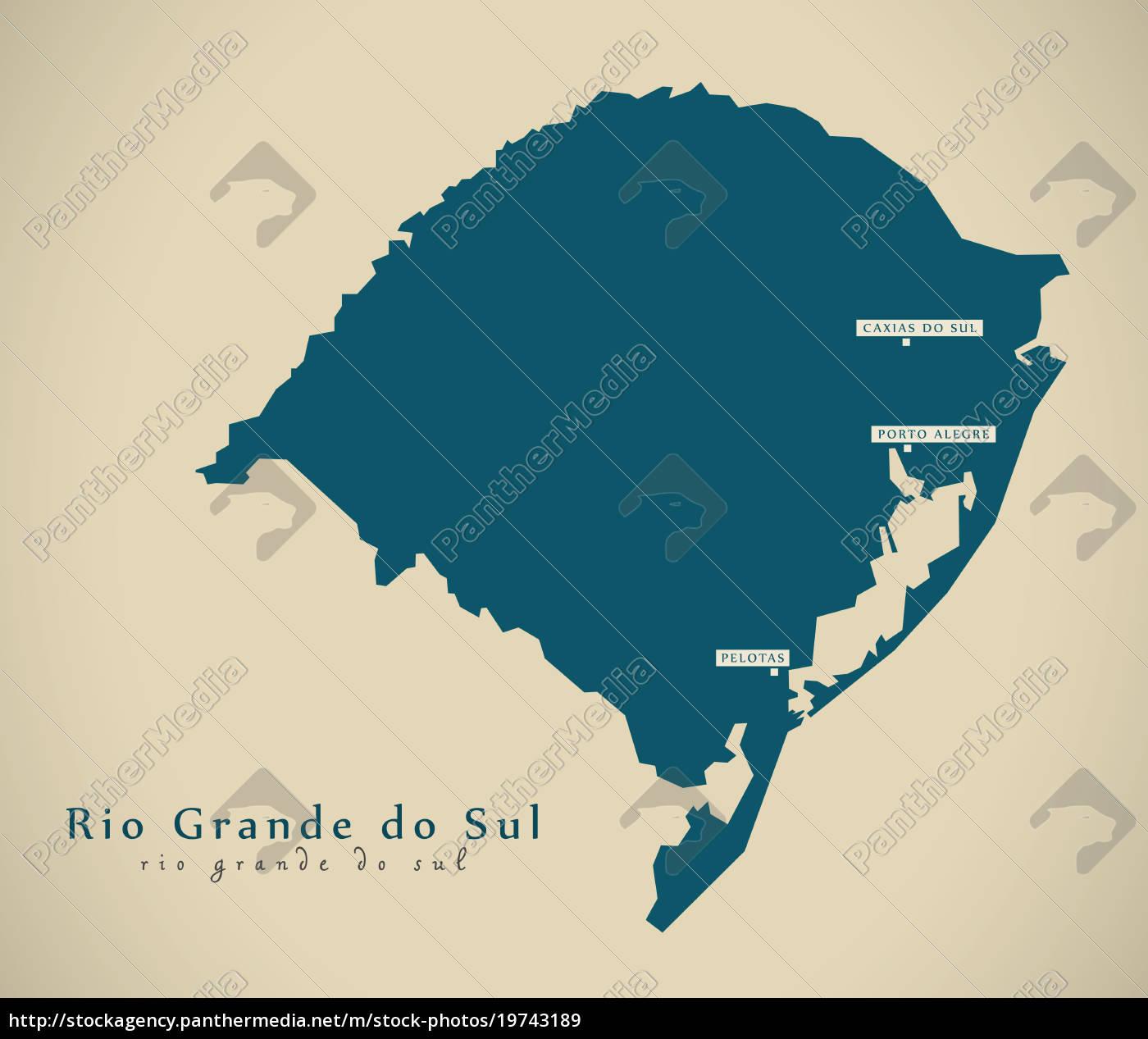Stockfoto 19743189 - moderne karte rio grande do sul br brasilien  illustration