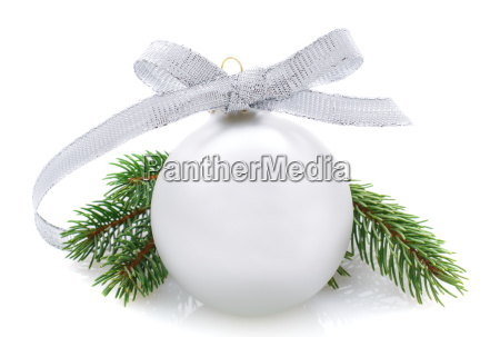 silver christmas ball and fir branches