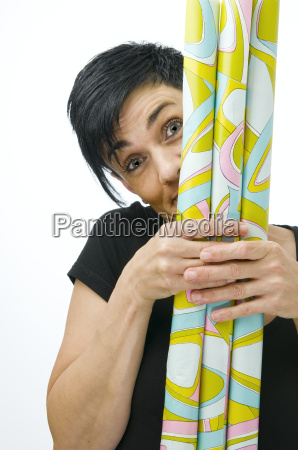 woman behind gift paper