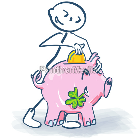 stick figure with piggy bank
