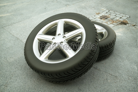 car tire on street 3d