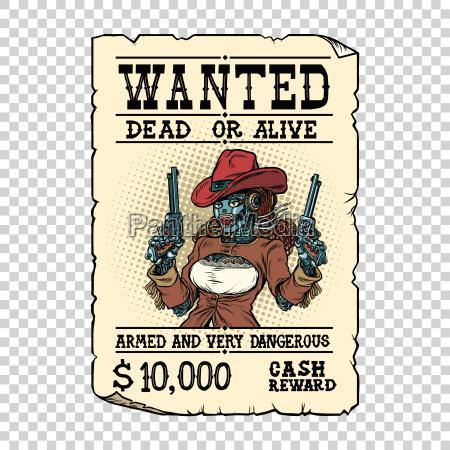 steampunk weibliche roboter bandit wilden west
