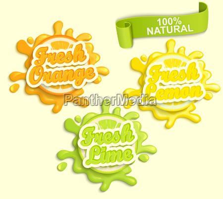 set of lemon orange lime juice