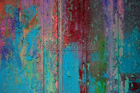 colorful wooden wall aqua red