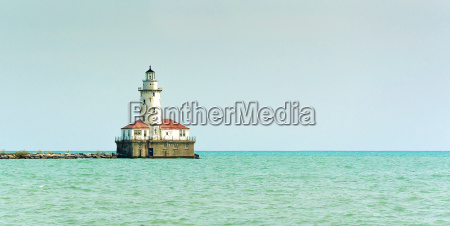 lonely lighthouse in the sea