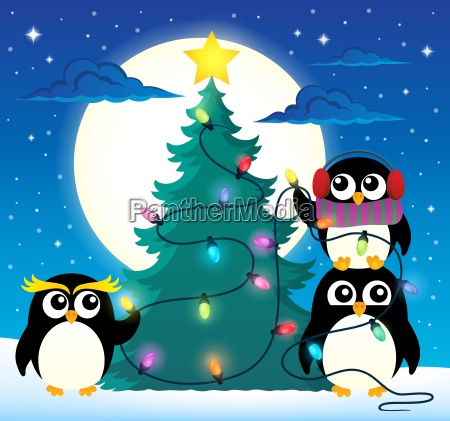 3 penguins um weihnachtsbaum thema