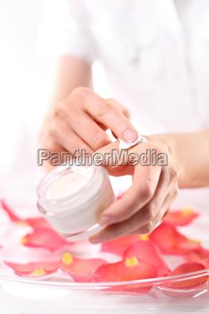 beauty salon manicure with hand scrub