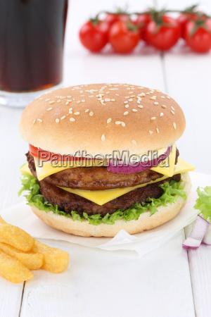 double cheeseburger hamburger cola drink