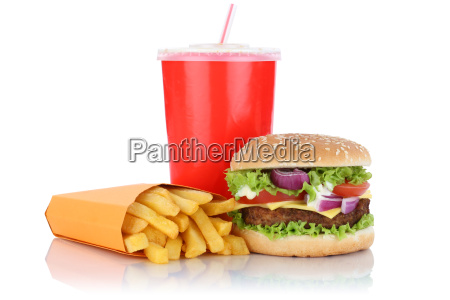 cheeseburger hamburger menu with french fries