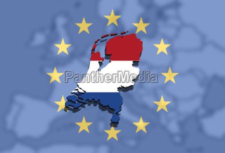 nahaufnahme auf holland karte ueber europa