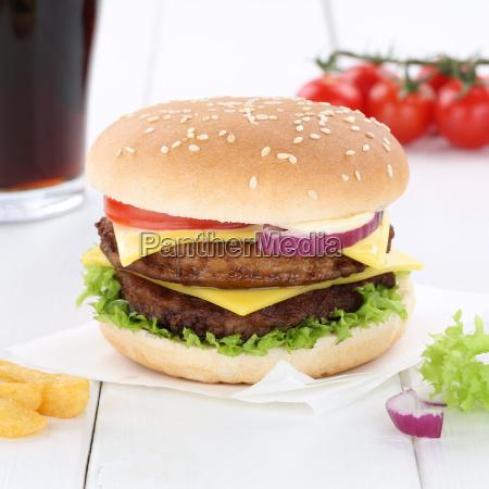 double cheeseburger hamburger burger cola drink