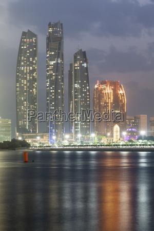 etihad towers at night abu dhabi