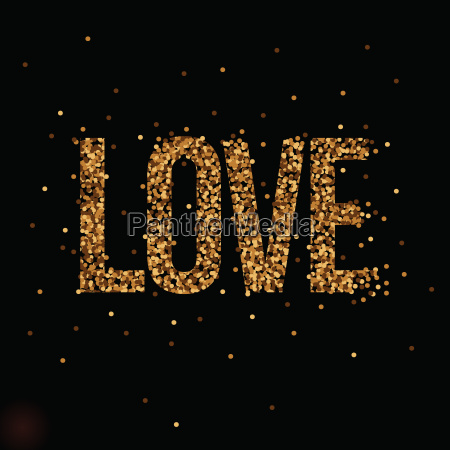love banner with gold glitter