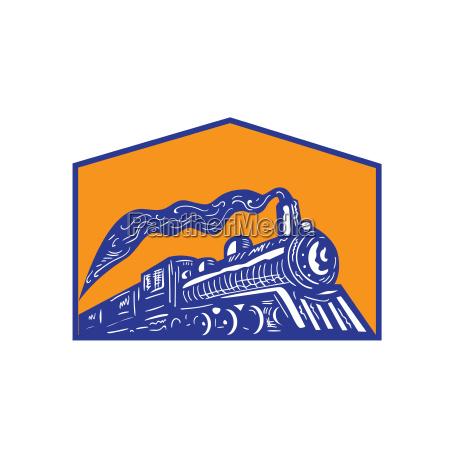 dampflokomotive zug kommen crest retro