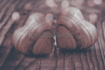 two hearts of wood in sepia