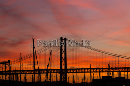 sunset landscape in city with bridge