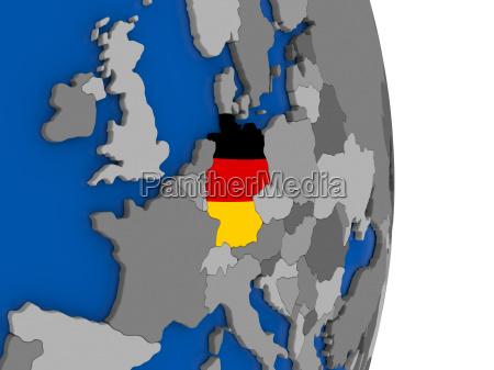 deutschland auf dem globus mit fahne