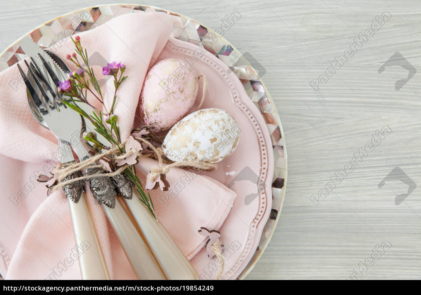 dekoratives, tischgedeck, zu, ostern - 19854249