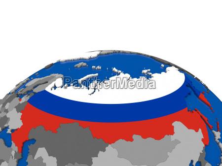 russland auf 3d globus