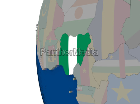 nigeria mit nationalflagge