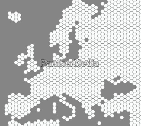 weisse europakarte aus sechsecken auf grauem