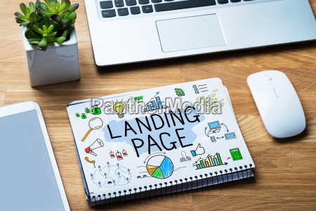 notepad showing landing page concept