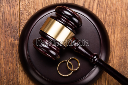 divorce concept with gavel and wedding