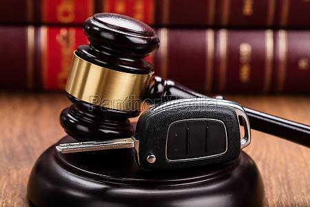 car key on judges gavel