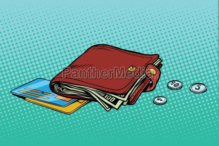 ledergeldboerse mit kreditkarte und bargeld