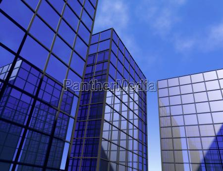 wolkenkratzer buero blau spiegelglasfenster himmel architektur