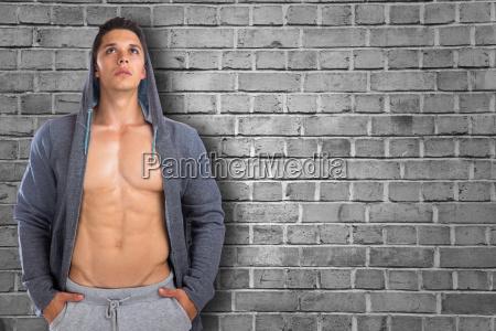 bodybuilder bodybuilding muscles hoodie man looks