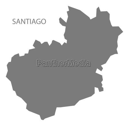 santiago dominikanische republik karte grau