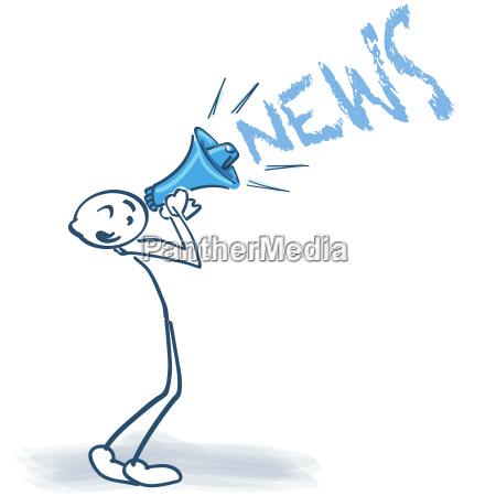 strichmaennchen mit megaphone und news