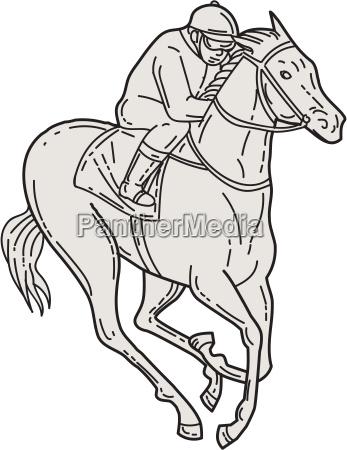 jockey reiten thoroughbred horse mono line