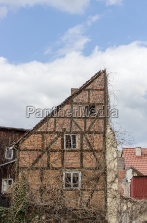 old half timbered house against a