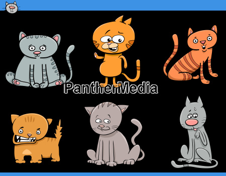 cat cartoon characters set