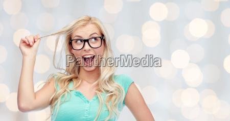 happy young woman or teenage girl