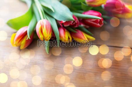 nahaufnahme von tulpe blumen auf holztisch