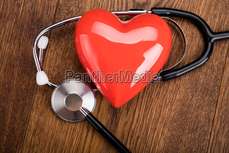 red heart and a stethoscope on