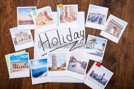 holiday photos on wooden desk