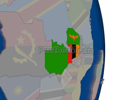 sambia mit seiner flagge