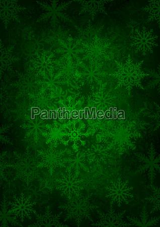 green snowflakes background