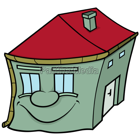 house with smiling face
