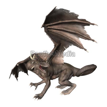 3d rendering fantasie drache auf weiss