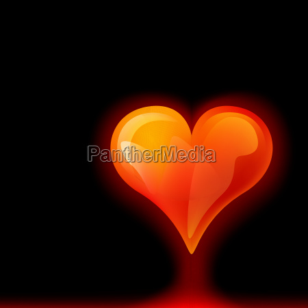 abstract glowing red heart