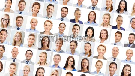 collage mit vielen geschaeftsleuten portraets